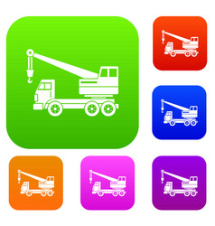 Truck crane set color collection vector