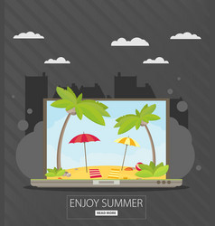 Vacation and travel banner with tropical seaside vector