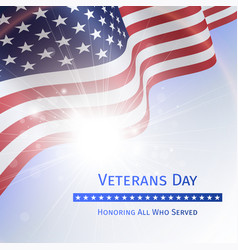 veterans day remember and honor - poster vector image vector image