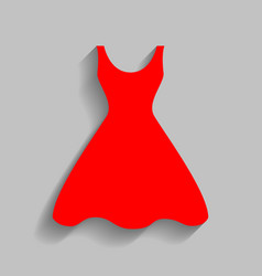Woman dress sign red icon with soft vector