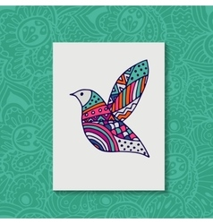 Zentangle stylized bird hand drawn vector