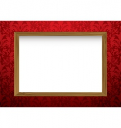 wood frame on red vector image
