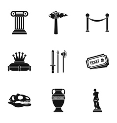 Historical museum icons set simple style vector