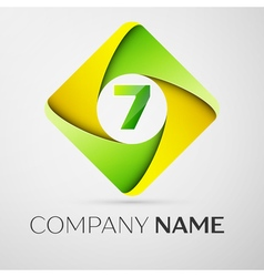 Number seven logo symbol in the colorful rhombus vector