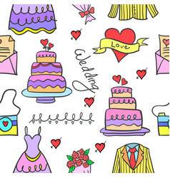 Doodle of wedding object style design vector