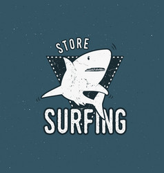 Surfing store emblem design shark on a triangle vector