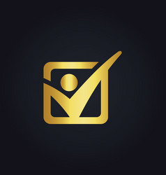 People icon success sport gold logo vector