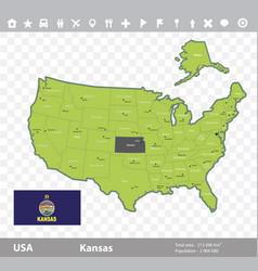 Kansas flag and map vector