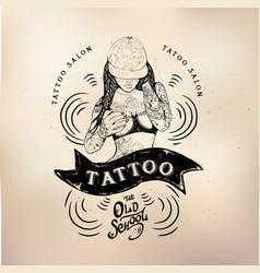 Tattoo girl old school studio skull vector