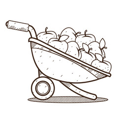 Garden wheelbarrow with apples outline drawing vector