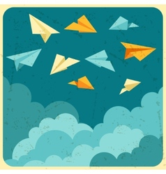 Paper planes on the sky with clouds vector