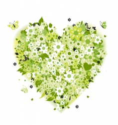 Floral heart shape summer green vector