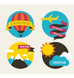 Air balloon sun and airplane backgrounds vector