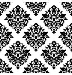 Seamless black damask floral background design vector image