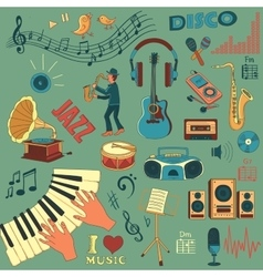 Colored hand draw music icon set vector