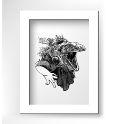 Unusual original artwork of iguana lizard with vector