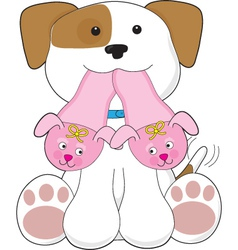 Cute puppy slippers vector