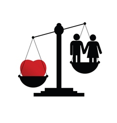 Scales with couple in love vector
