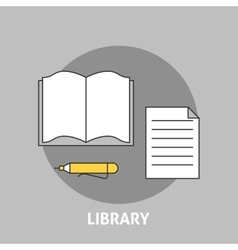Library concept outline icons vector