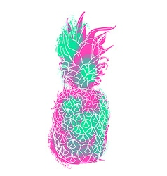Modern pineapple paint art with summer color vector