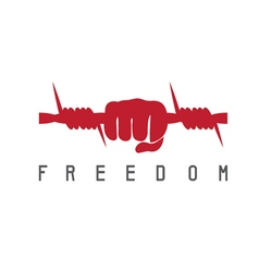 Freedom concept with barbed wire and hand design vector