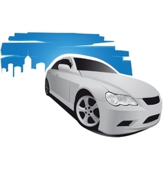 Car on blue background vector image vector image