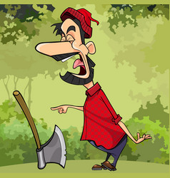 cartoon screaming a woodcutter in the forest vector image vector image