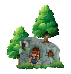 Caveman and a cave vector image vector image