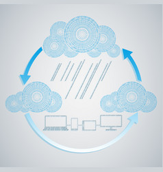 computer blue cloud with rain from numbers and vector image vector image