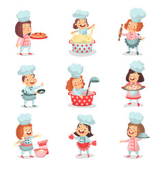 cute little cook chief kids cartoon characters vector image vector image