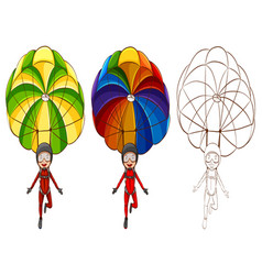 Doodle character for man parachute vector