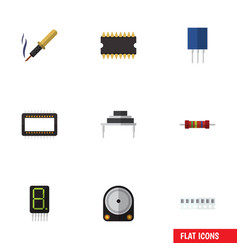 Flat icon device set of microprocessor vector