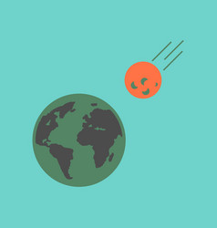Flat icon on stylish background meteorite earth vector