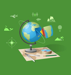 geography class isolated on green vector image