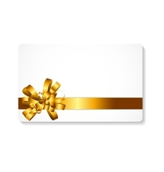 Gift card with gold bow and ribbon vector