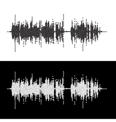 Halftone dot square elements sound waves music vector
