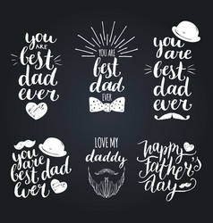 Happy fathers day vintage logotypes set vector