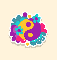 Hippie yin and yang symbol with flowers cute vector