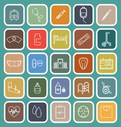 Hospital line flat icons on green background vector