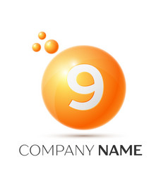 Number nine splash logo orange dots and bubbles vector
