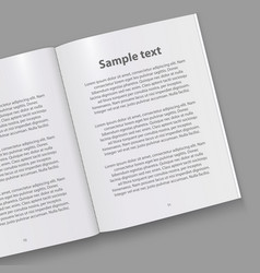 Open paper book with text vector
