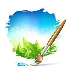 Painting brush natural with blue sky background vector image vector image