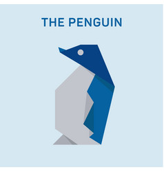 penguin origami animals modern flat art vector image