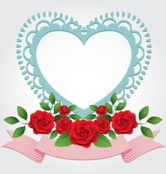 Red roses heart shape frame and border vector