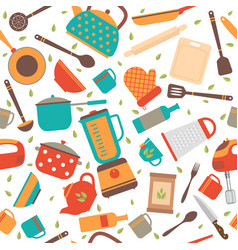 seamless pattern with kitchen tools cooking vector image vector image