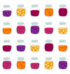 seamless pattern with the colorful fruit jam jars vector image