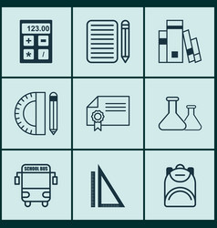 Set of 9 education icons includes library vector