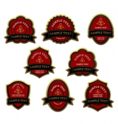 set of red vintage labels vector image