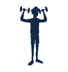 silhouette fitness man weight lifting workout vector image