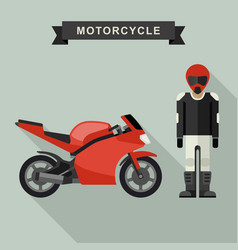 Sport bike with biker vector